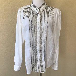 Anthro Floreat Rhinestone White Button-Down Shirt